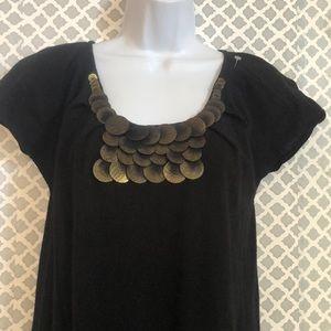 Milly short sleeve gold embellished sweater dress